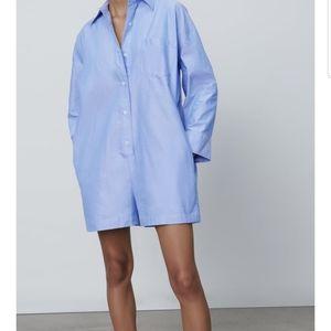 Zara M Denim look blue jumper jumpsuit shorts